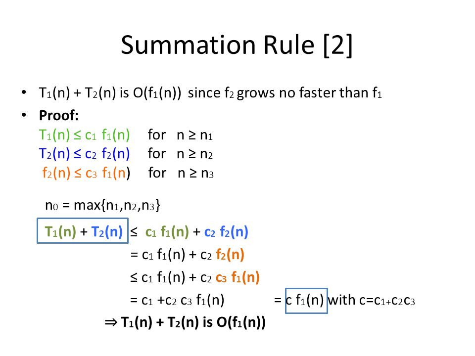 Summation Rule [2] T1(n) + T2(n) is O(f1(n)) since f2 grows no faster than f1.